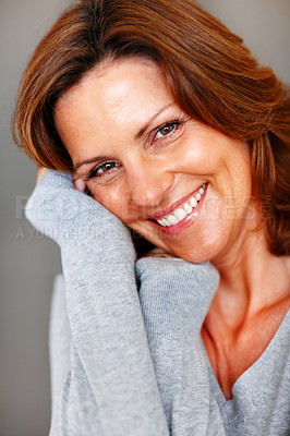 Buy stock photo Closeup portrait of cheerful young woman posing