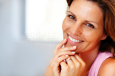 Buy stock photo Closeup portrait of happy young female posing