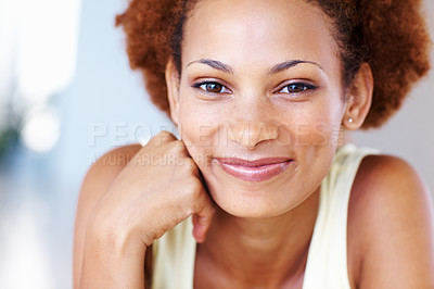 Buy stock photo Closeup portrait of a cheerful woman lying on her lounge floor