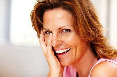 Buy stock photo Closeup portrait of cheerful young lady posing