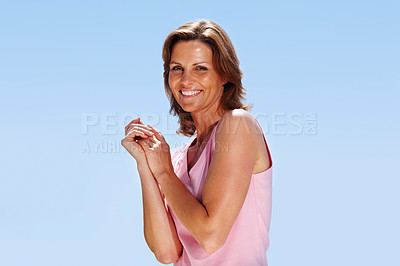 Buy stock photo Happy young female posing- Outdoor