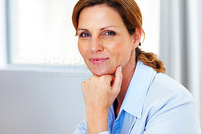 Buy stock photo Cute young business woman sitting at office