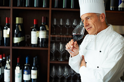 Buy stock photo Portrait of smart male chef tasting red wine