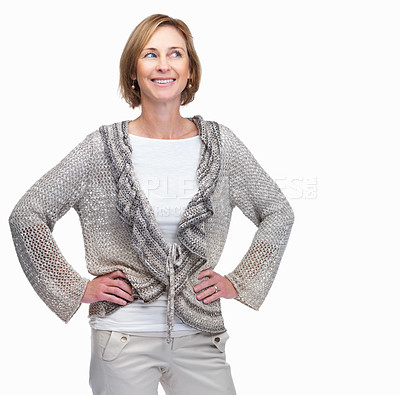 Buy stock photo Attractive mature businesswoman looking away again