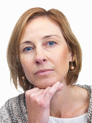 Buy stock photo Portrait of thoughtful mature woman on white backg