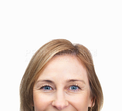 Buy stock photo Cropped image of mature female face over white bac