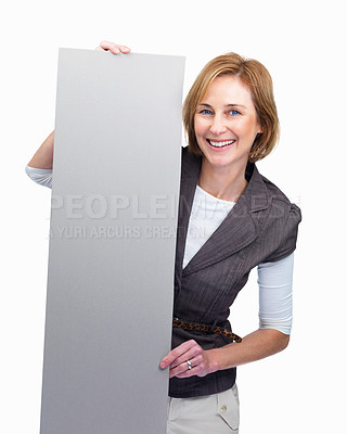 Buy stock photo Mature lady holding blank billboard  over white ba
