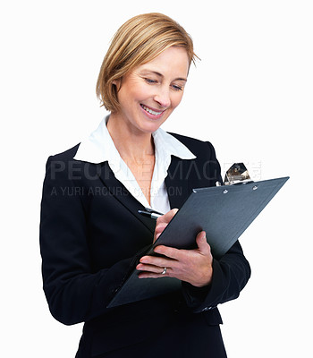 Buy stock photo Beautiful middle aged businesswoman taking notes