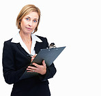 Confident middle aged businesswoman taking notes white backgroun