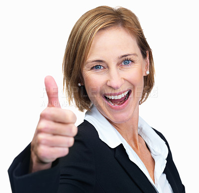 Buy stock photo Happy business woman showing thumbs up sign over w
