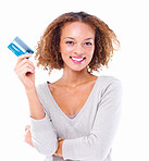 Portrait of a happy girl holding credit card isolated on white background