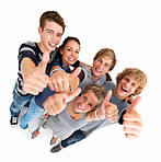 Top view of friends showing thumbs up sign