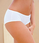 Closeup of a beautiful woman wearing white underwear