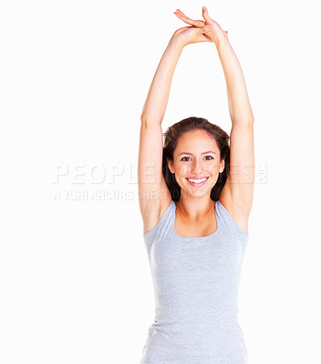 Buy stock photo Woman stretching with arms above her head