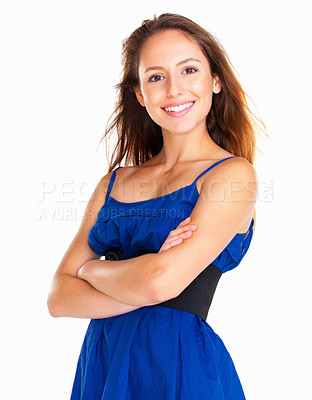 Buy stock photo Woman with arms crossed against white background