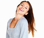 Woman laughing while tilting her head