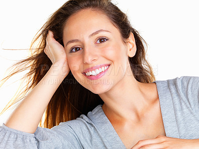 Buy stock photo Head shot of casual woman resting head on hand