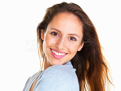 Buy stock photo Happy woman looking over her shoulder
