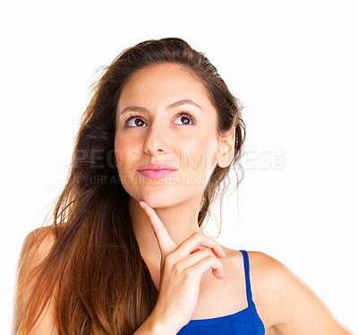 Buy stock photo Head shot of woman looking up with finger on chin