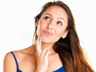 Buy stock photo Woman with fingers crossed and looking up