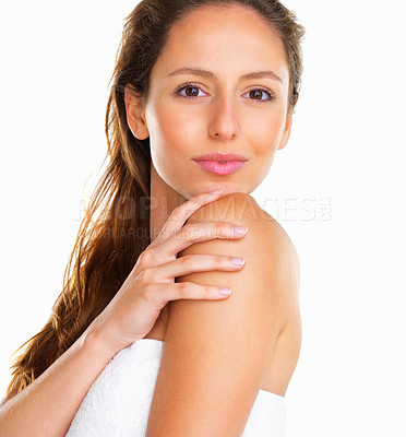 Buy stock photo Woman looking over her shoulder at camera