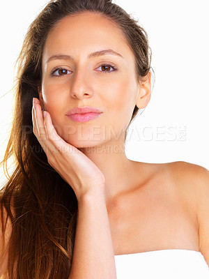 Buy stock photo Woman holding hand up to face with serious look