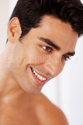Buy stock photo Closeup portrait of a happy young man smiling