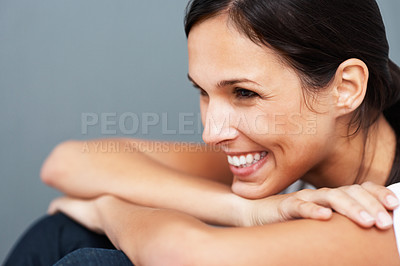 Buy stock photo Pretty woman smiling and listening