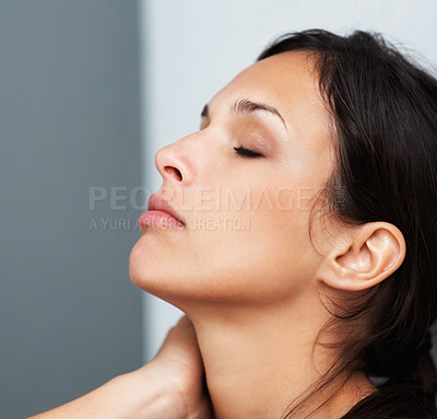 Buy stock photo Pretty woman relaxing with eyes closed