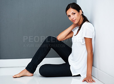 Buy stock photo Pretty woman sitting receptive to conversation