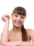 Girl holding a green apple