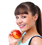 Girl holding a red apple