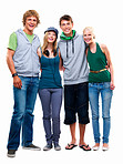 Teen young boys and girls standing together