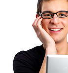 Cheerful young man with laptop