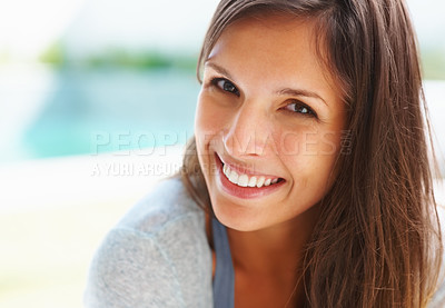 Buy stock photo Pretty woman smiling while sitting