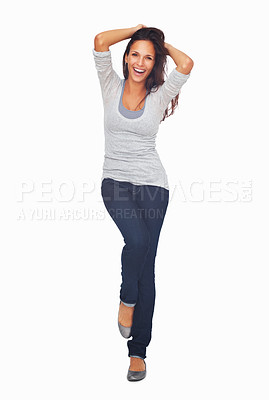 Buy stock photo Full-frame sexy woman casually dancing with hands in her hair