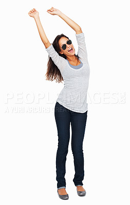 Buy stock photo Full-frame sexy woman throwing arms up in the air