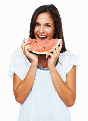 Buy stock photo Woman against white background ready to take a bite out of watermelon