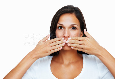 Buy stock photo Woman with hand over mouth against white background