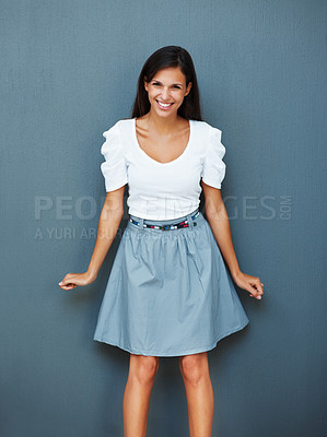 Buy stock photo Playful woman against blue background