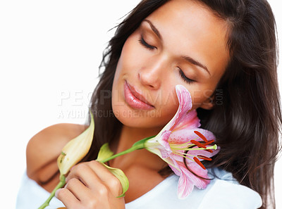 Buy stock photo Head shot of woman touching petals of a flower against white background