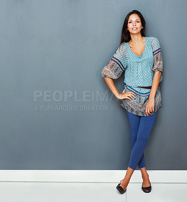 Buy stock photo Sexy woman standing with hand on hip