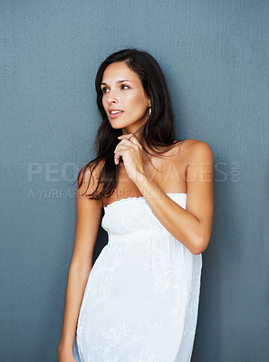 Buy stock photo Woman against blue background looking away