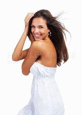 Buy stock photo Woman smiling with hands in her hair