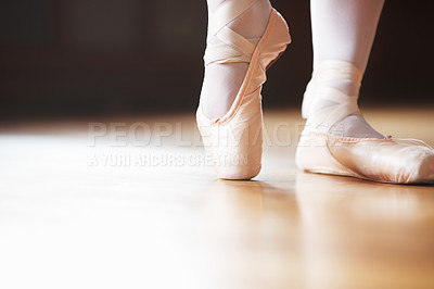 Buy stock photo Closeup portrait of a ballerina's feet dancing on Pointe