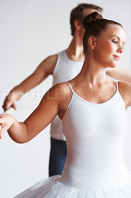 Buy stock photo Portrait of a ballerina with her trainer dancing against white background