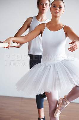 Buy stock photo Portrait of a young ballet dancers