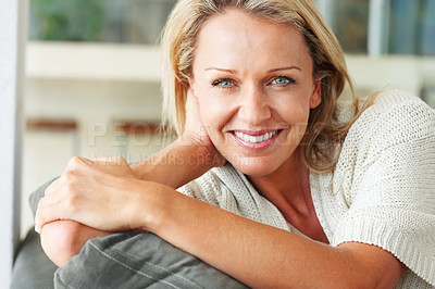 Buy stock photo Closeup portrait of an elegant mature lady with a lovely smile