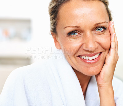 Buy stock photo Closeup portrait of a fresh mature woman's face smiling