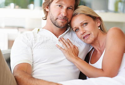 Buy stock photo Closeup portrait of a loving relaxed mature man and woman